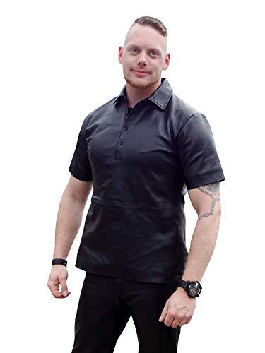Fetish-Design Man Poloshirt Herren Kurzarm-Lederhemd aus Echtem Lamm Nappa Leder in Schwarz