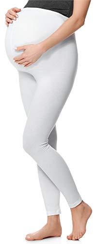 Be Mammy Lange Umstandsleggings aus Baumwolle BE20-230 (Weiß, M)