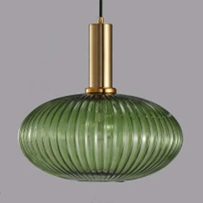 LITFAD Ribbed Glass Geometric Hanging Light Simplicity Single Light Chandelier in Brass Finish product image
