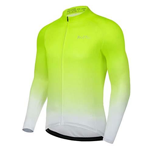 ROTTO Maillot Cyclisme Homme Manches Longues Vetement Cycliste pour VTT vélos de Route avec Poche
