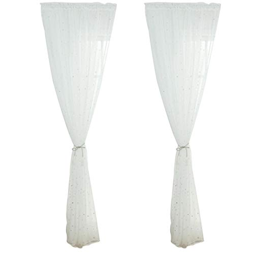 Veemoon - Cortina para ventana con diseño romántico de plata, diseño de estrellas, con purpurina, diseño de estrellas, color blanco