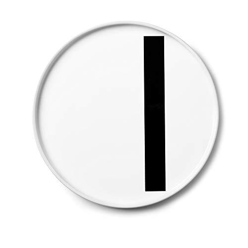 Design Letters Assiette Personnalisée en Blanc Porcelaine Fine de A-Z - I – Assiette Decorative, Idéal décorer, comme Cadeau Personnel, ou pour Les Repas, Compatible Lave-Vaisselle, D: 20cm