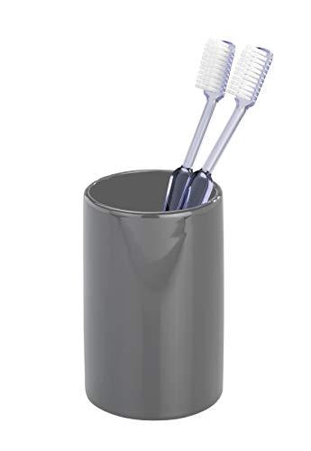 WENKO Zahnputzbecher Polaris Grey - Zahnbürstenhalter für Zahnbürste und Zahnpasta, Keramik, 7 x 11 x 7 cm, Grau