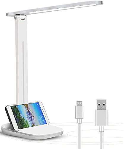 Lámpara Escritorio LED, Lámparas de Mesa USB Recargable Regulable, 3200mAh Plegable Luz Lámpara Escritorio (3 Modos, Función de Memoria, Control Táctil) para dormitorio, oficina, Cuidado de ojos