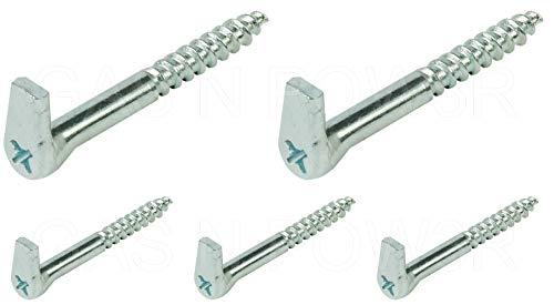 Schraubhaken mit Kreuzschlitz, strapazierfähig, verzinkter Stahl, selbstschneidend, Holz, 5,8 x 65 mm, 5 Stück