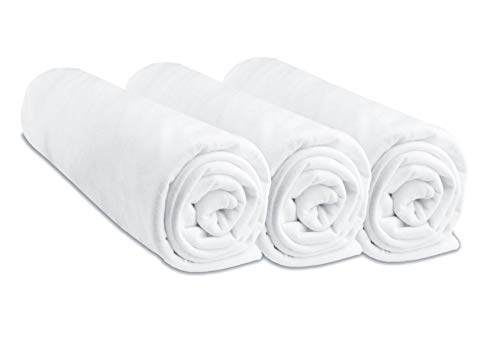 Lot de 3 Draps Housse Coton 40x80 cm Extensible à 40x90 cm pour lit bébé, berceau, nacelle - Blanc (marque Easy Dort)