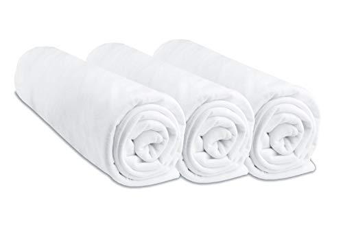 Juego de 3 sábanas bajeras para bebé de algodón, 70 x 160 cm, Color Blanco (Marca Easy Dort)
