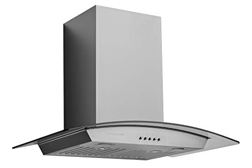 Hauslane | Chef Series Range Hood WM-630 30' Wall Mount Range Hood | European Style with Stainless Steel and Tempered Glass | 3 Speed, LED Lamps | Ducted or Ventless
