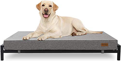 KOPEKS Hochbett mit Matratze für Hunde und Haustiere, Größe XL, Grau und Schwarz