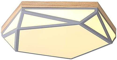 Lámparas de techo geométricas LED, madera sólida simple de madera maciza / verde / rosa / blanco / amarillo iluminación acrílica de acrílico lámpara de techo lámpara de techo Lámpara de estar, D: 40 c