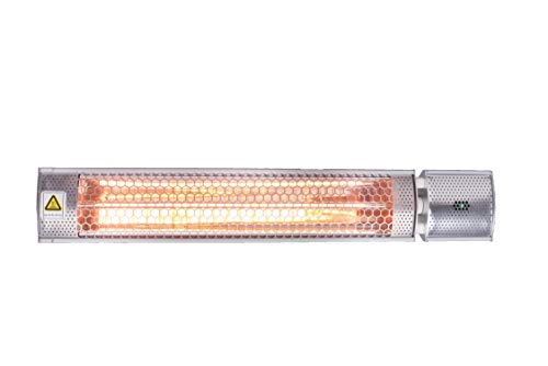 Hanover HAN1053IC-SLV Remote, Silver 26.5-in. Modern Halogen Infrared Steel Electric Heater