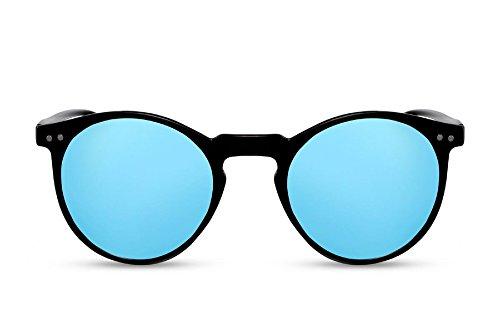 Cheapass Gafas de Sol Redondas Negras Azules Espejadas UV400 Vintage Retro Mujer Hombre