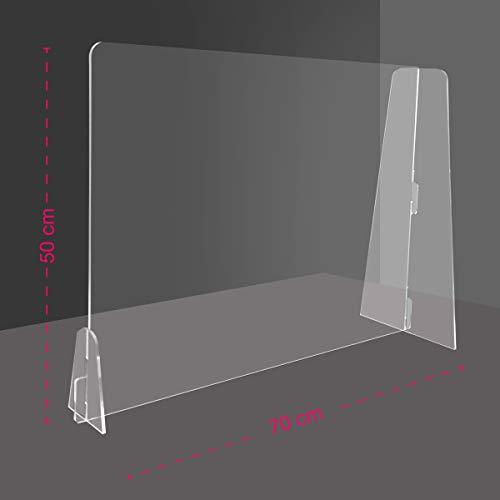 Generico Barriera Protettiva separatore da scrivania in plexiglass Trasparente 4 mm PDS - Divisorio per Ufficio parasputi parafiato (70x47 cm)