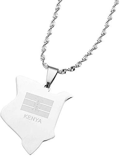 Collar Acero Inoxidable Kenia Mapa Collares Pendientes Plata Color País Mapa Kenianos Charm Jewelry