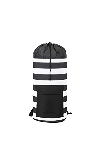 Striped Laundry Backpack for Dorm College RV Travel
