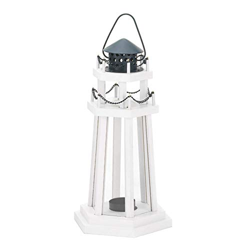 1 X Nautical Light Decorative Clear Glass Wooden Lighthouse Candle Lantern Lamp for Indoor or Outdoor Lighting and Wedding Centerpieces & Decorations
