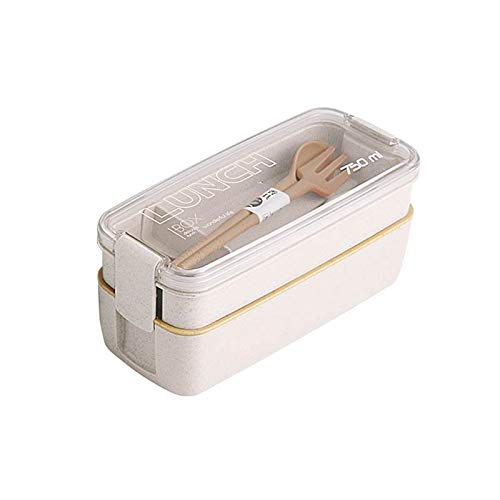 WPC Brands bento box for kids 750ml Healthy Material 2 Layer Lunch Box Wheat Straw Bento Boxes Microwave Dinnerware Food Storage Container Lunchbox cute bento box (Color : Beige)