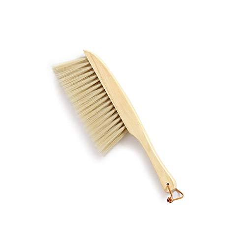 Cepillo pequeño con mango de madera escoba de mano cerdas suaves, color amarillo