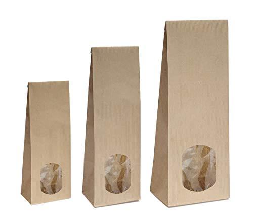 Blockbodenbeutel mit ovalem Sichtfenster - 100g/250g/500g - 7 x 4 x 20,5 cm - Papiertüten Bodenbeutel Geschenktüte Tütchen Kraftpapier (100g – mit ovalem Sichtfenster, 50 Stk.)