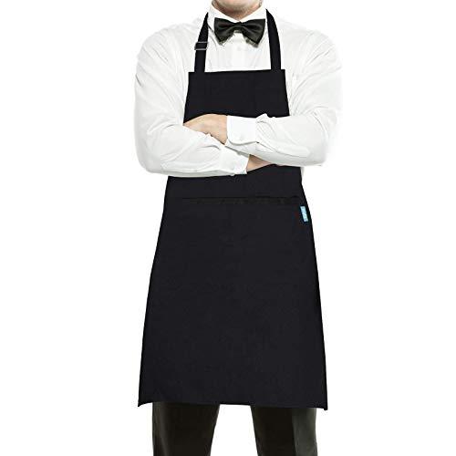 esafio Canvas Schürze Verstellbare mit 2 Taschen Kochschürze für Frauen Männer Chef, Grillschürze,Herrenschürze,Schwarz