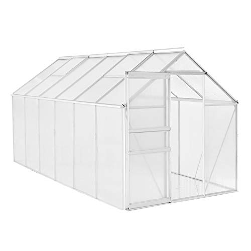 ESTEXO Aluminium Gewächshaus Treibhaus ohne oder inkl. Fundament Tomatenhaus Pflanzhaus mit Hohlkammerstegplatten (250x190x195 cm)