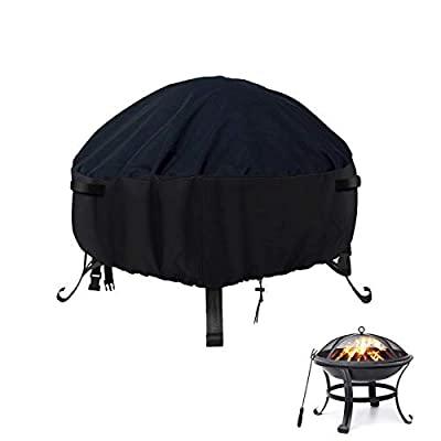 """POMER Round Fire Pit Cover 58x58cm,Waterproof Fabric Patio Fire Bowl Cover with Buckles, Drawstring for 22"""" Gas Fire Fable by"""
