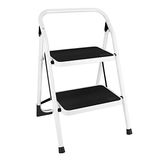 Gimify Escalera Escalera Plegable de 2 peldaños, Escalera Plegable Escalera de Acero sin escalones, Resistente y Ancha, Capacidad de Carga de hasta 150 kg, Blanco y Negro