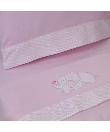 10XDIEZ Juego de sábanas Cuna Franela Elefante Rosa - Medidas sabanas bebé - Cuna (60x120cm)