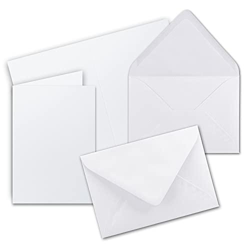 25 Sets - Faltkarten DIN A5 - Hochweiß / Kristallweiß + Umschläge - PREMIUM QUALITÄT - 14,8 x 21 cm - sehr formstabil - für Drucker geeignet - Marke: NEUSER FarbenFroh