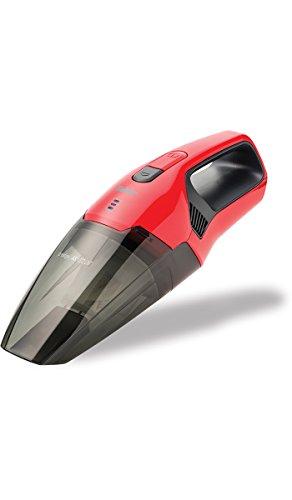 Fakir AS 1072 LNT / Handstaubsauger, Nass & Trockensauger, kabelloser Autosauger, mit Wandhalterung - rot/rauchglas, 7,4 V Lithium-Ionen Akku