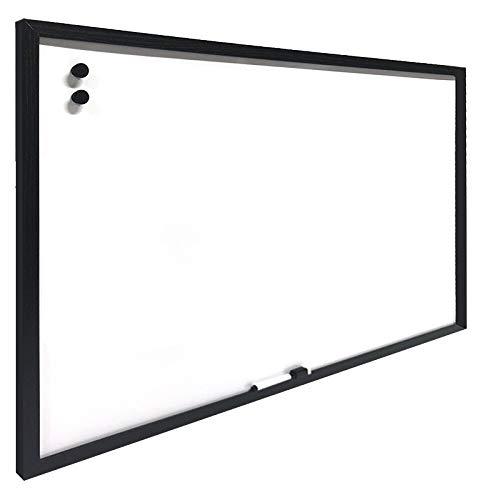 H HANSEL HOME - Pizarra Magnética Blanca con Marco de Madera Negro 30X40 cm