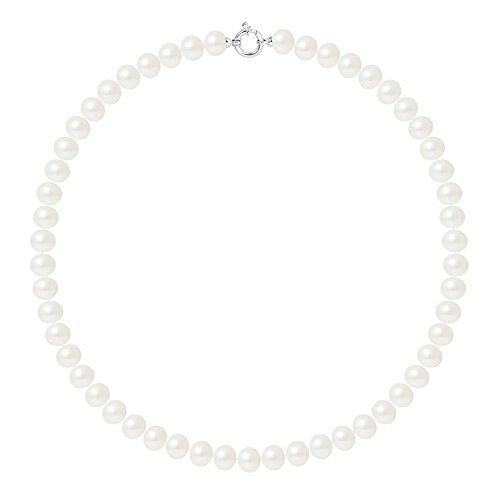 Pearls & Colors - Collana Vere Perle di Coltura d'Acqua Dolce Semi-barocche - Colore Bianco Naturale - qualità AAA+ - Diverse Misure Disponibili - Anello Marino Argento 925 - Gioilli Donna