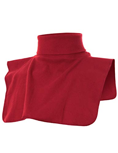 OHOO Mens Ribbed Cotton Blend Fake Turtleneck Collar Keep Warm/DCT021-RED-M