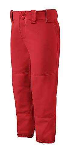 Mizuno Girls Youth Belted Low Rise Fastpitch Softball Pant, Red, Youth X-Large