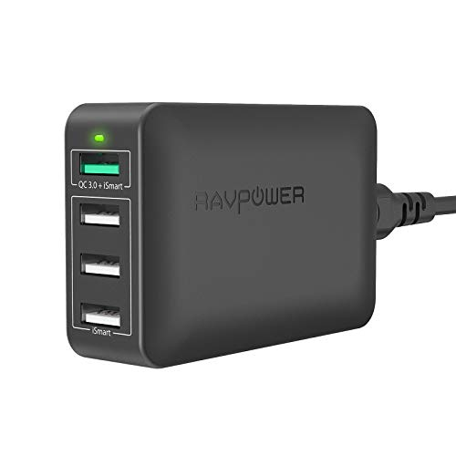 RAVPower USB Fast Charger 40W 4-Port Qc 3.0 Fast Charger Desktop Charging Station Compatible Galaxy S9 S8 S7, Compatible iPhone 11 Pro Max XS Max XR X 8 7 Plus, Ipad, Pixel, Tablet and More (Black)