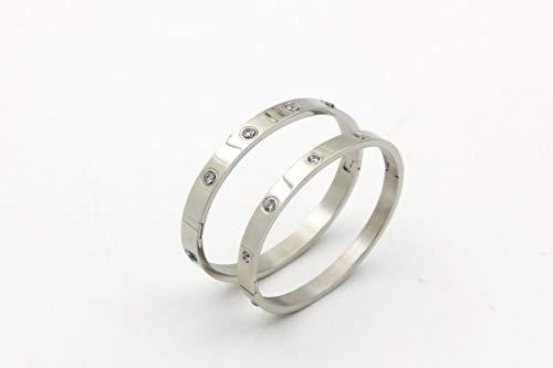 dingtian Pulsera hermosa amante pulseras de mujer pulseras de acero inoxidable y brazaletes de circonita cúbica dorada para mujer regalos de joyería 2 piezas-4 mm-plata