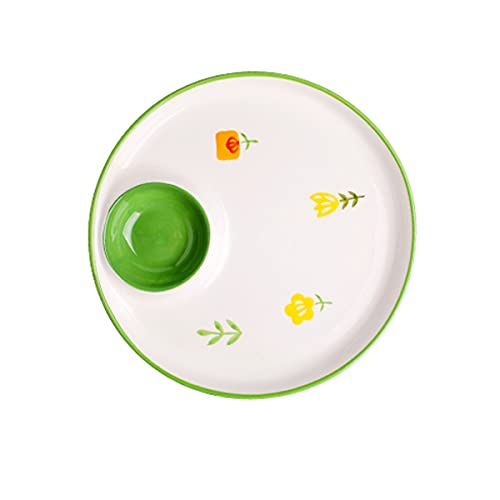 MHUI Dinner Plate with Vinegar Dish 22.5 cm,Large Flat Plate Made from Ceramics Apply to Dishwasher and Microwave,B