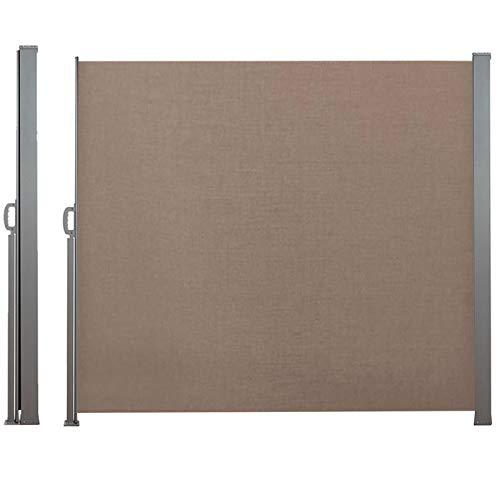 IDMarket - Paravent rétractable 300 x 160 cm Store Taupe latéral Enroulable