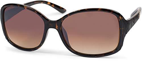 styleBREAKER gafas de sol de mujer sobredimensionadas con patillas estructuradas, lentes de policarbonato y montura de plástico 09020098, color:Cuadro demi marrón/cristal marrón degradado