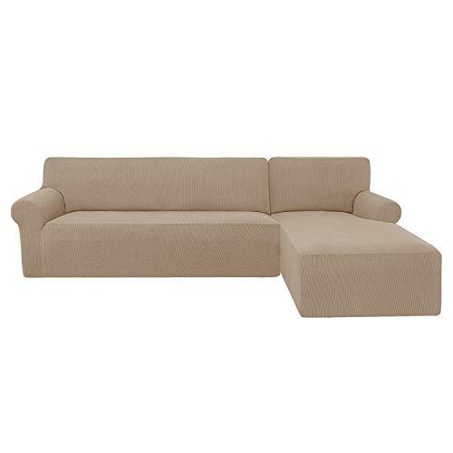 subrtex Funda Sofa Chaise Longue Brazo Derecho Elastica Largo Protector para Sofa Chaise Longue Derecha Antimanchas Ajustable Lavable en Lavadora (Arena)