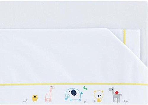 Pirulos Jeu de draps bébé Collection Happy Zoo 80x140 blanc