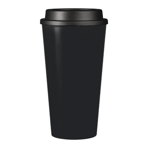 Reusable To Go Hot & Cold Beverage Tumbler - Double Wall with Sip Lid - 16oz. Capacity - Black