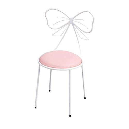 Decoración de muebles Silla de uñas de arte de hierro Silla de lazo de mariposa creativa Restaurante Café Silla de comedor Sillón de ocio Silla de maquillaje Silla de metal de arte de hierro 35 * 3