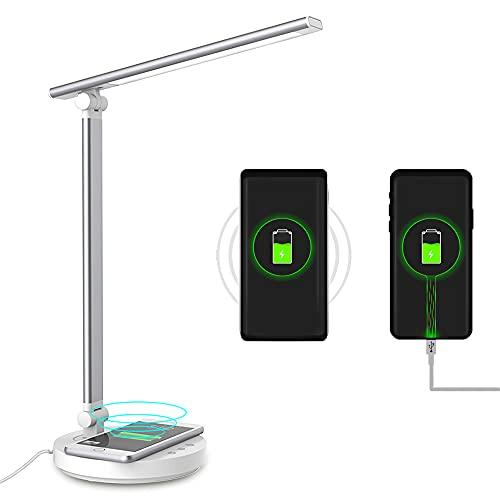 MAOYUTOU Schreibtischlampe LED, 5 Farben und 5 Helligkeitsstufen, Faltbare Augenschutz Tischlampe mit Drahtlosem Ladegerät und USB-Anschluss, Nachttischlampe, 45min Auto Timer, Touch Memory-Funktion
