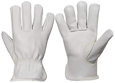 Heavy Duty Industrial Work Cowhide Leather Gloves for Men & Women, Durable and Fire Resistant Performance Gloves for Construction & Driving, Sizes Small to X Large, 1 Pair (Extra Large 3 Pair, White)