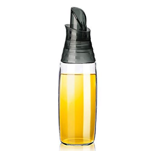 GM GMISUN Olive Oil Dispenser Bottle with Auto Flip Cap, 12oz Cooking Oil Dispenser, No Drip Glass Oil and Vinegar Dispenser, Small Olive Oil Cruet Decanter Easy One-Hand Control -1 Pack (Grey)