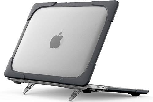 ProCase Carcasa Dura Transparente para MacBook Pro 13' M1 2020(A2338/A2289/A2251),Funda Rígida de Capa Doble con Soporte Plegable para MacBook Pro 13' Retina con Touch ID -Negro