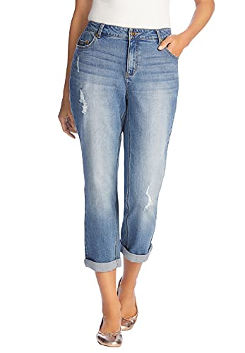 Woman Within Women's Plus Size Petite Girlfriend Stretch Jean - 14 WP, Distressed Multicolored
