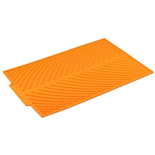 PPuujia Vajilla de silicona rectangular de silicona para secar platos, resistente al calor, vajilla y vajilla duradera, accesorios de cocina (color naranja)