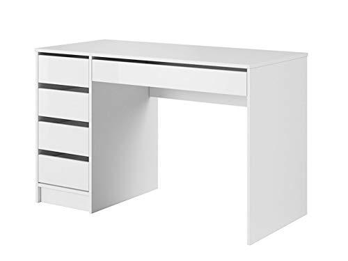 Mirjan24 Schreibtisch Ada, 5 Universale Schubladen Schülerschreibtisch Computertisch Kinderschreibtisch Arbeitstisch PC-Tisch Jugendzimmer Kinderzimmer (Weiß/Weiß Hochglanz)